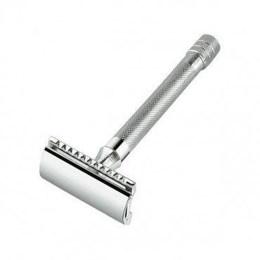 Merkur Double Edge Safety Razor, Straight Cut, Extra Long Handle, Chrome