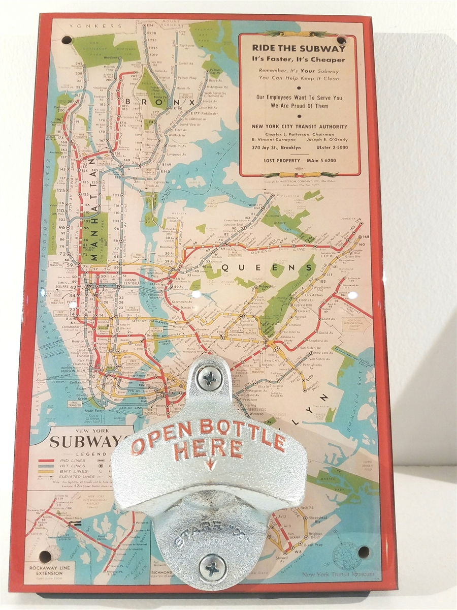 Subway Map Paper Products.Nyc Vintage Subway Map Novelty Bottle Opener