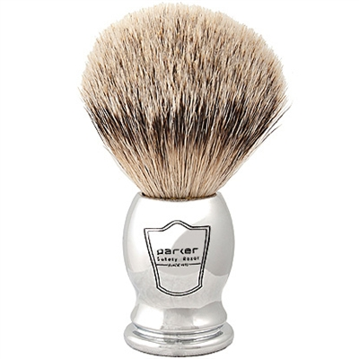 Parker 100% Silvertip Badger Bristal Chrome Handle with Free Brush Stand
