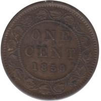 1859 Narrow 9 Canada 1-cent Very Fine (VF-20)