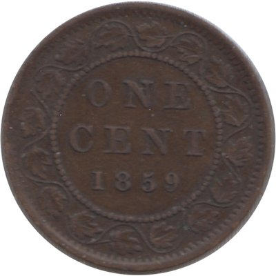 1859 Narrow 9 Canada 1-cent F-VF (F-15)