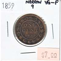 1859 Narrow 9 Canada 1-cent VG-F (VG-10)