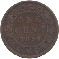 1859 Narrow 9 Canada 1-cent G-VG (G-6)