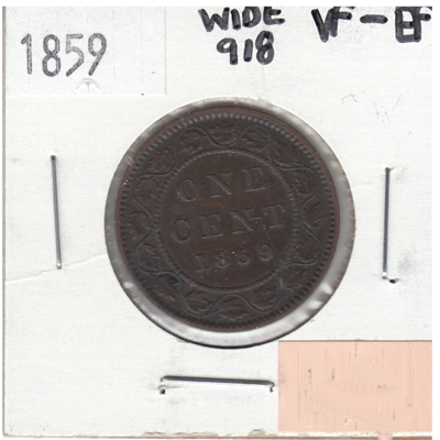 1859 Wide 9/8 Canada 1-cent VF-EF (VF-30) $