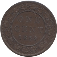 1859 Narrow 9 Canada 1-cent VF-EF (VF-30)