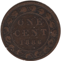 1886 Obv. 2 Canada 1-cent VG-F (VG-10)