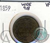 1859 Wide 9/8 Canada 1-cent Very Fine (VF-20) $