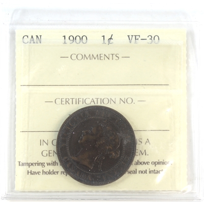 1900 Canada 1-Cent ICCS Certified VF-30