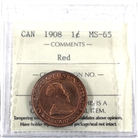 1908 Canada 1-Cent ICCS Certified MS-65 Red (XIC 354)