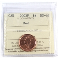 2003P Canada Old Effigy 1-cent ICCS Certified MS-66 Red