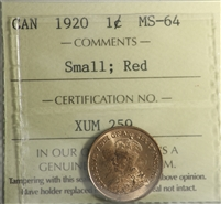 1920 Canada Small 1-cent ICCS Certified MS-64 Red (XUM 259)