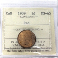 1939 Canada 1-cent ICCS Certified MS-65 Red (QQ 604)