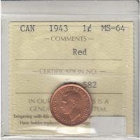 1943 Canada 1-cent ICCS Certified MS-64 Red
