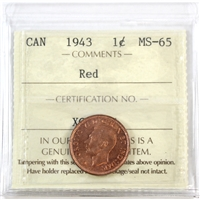 1943 Canada 1-cent ICCS Certified MS-65 Red