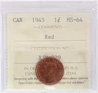 1945 Canada 1-cent ICCS Certified MS-64 Red (XPQ747)