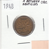 1948 A Between Denticles Canada 1-cent Circulated