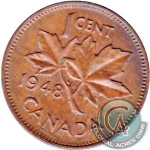 1948 A Between Denticles Canada 1-cent VF-EF (VF-30)