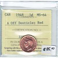 1948 A Off Denticle Canada 1-cent ICCS Certified Red MS-64