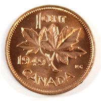 1949 A Between Denticles Canada 1-cent Brilliant Uncirculated (MS-63)