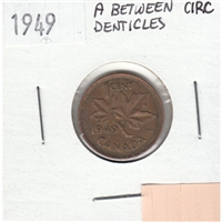 1949 A Between Denticles Canada 1-cent Circulated