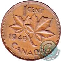 1949 A Between Denticles Canada 1-cent Extra Fine (EF-40)