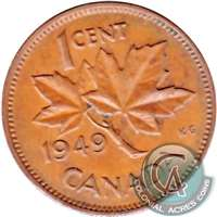 1949 A Between Denticles Canada 1-cent VF-EF (VF-30)