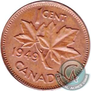 1949 A Between Denticles Canada 1-cent UNC+ (MS-62)