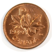 1949 A Between Denticles Canada 1-cent Choice BU (MS-64)