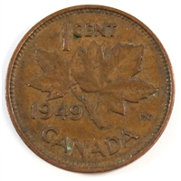 1949 A To Denticle Canada 1-cent Extra Fine (EF-40)