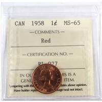 1958 Canada 1-cent ICCS Certified MS-65 Red