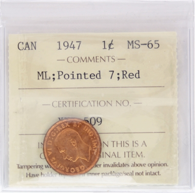 1947 Maple Leaf Pointed 7 Canada 1-Cent ICCS Certified MS-65 Red