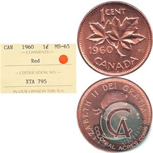 1960 Canada 1-cent ICCS Certified MS-65