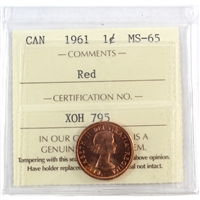 1961 Canada 1-cent ICCS Certified MS-65 Red