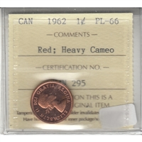 1962 Canada 1-cent ICCS Certified PL-66 Red Heavy Cameo