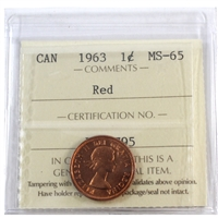 1963 Canada 1-cent ICCS Certified MS-65 Red