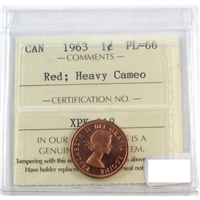 1963 Canada 1-cent ICCS Certified PL-66 Red Heavy Cameo