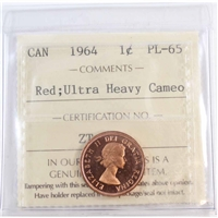 1964 Canada 1-cent ICCS Certified PL-65 Red Ultra Heavy Cameo