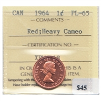 1964 Canada 1-cent ICCS Certified PL-65 Red Heavy Cameo