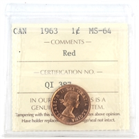 1963 Canada 1-cent ICCS Certified MS-64 Red