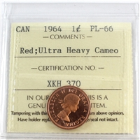1964 Canada 1-cent ICCS Certified PL-66 Red Ultra Heavy Cameo