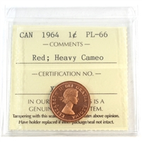 1964 Canada 1-cent ICCS Certified PL-66 Heavy Cameo Red