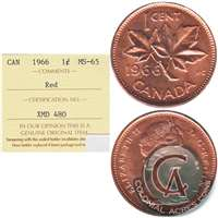 1966 Canada 1-cent ICCS Certified MS-65 Red