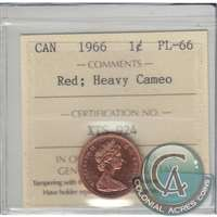 1966 Canada 1-cent ICCS Certified PL-66 Red Heavy Cameo