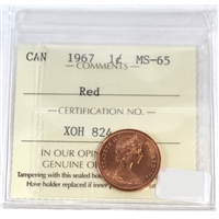 1967 Canada 1-cent ICCS Certified MS-65 Red