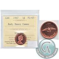 1967 Canada 1-cent ICCS Certified PL-65 Red, Heavy Cameo