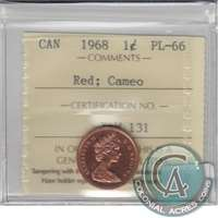 1968 Canada 1-cent ICCS Certified PL-66 Red, Cameo