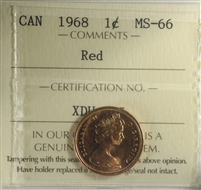 1968 Canada 1-cent ICCS Certified MS-66 Red
