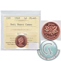 1968 Canada 1-cent ICCS Certified PL-65 Red, Heavy Cameo