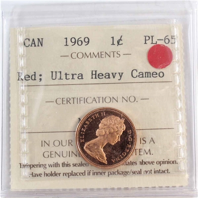 1969 Canada 1-cent ICCS Certified PL-65 Red Ultra Heavy Cameo