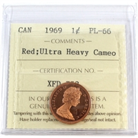 1969 Canada 1-cent ICCS Certified PL-66 Red, Ultra Heavy Cameo